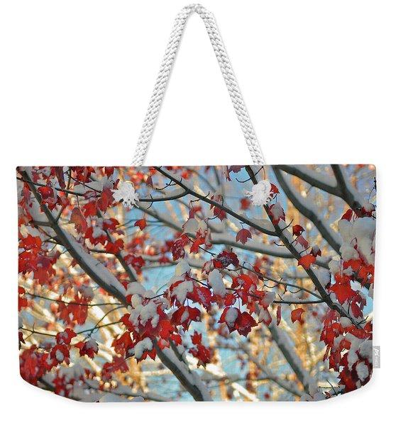 Snow On Maple Leaves Weekender Tote Bag
