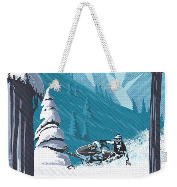 Snowmobile Landscape Weekender Tote Bag