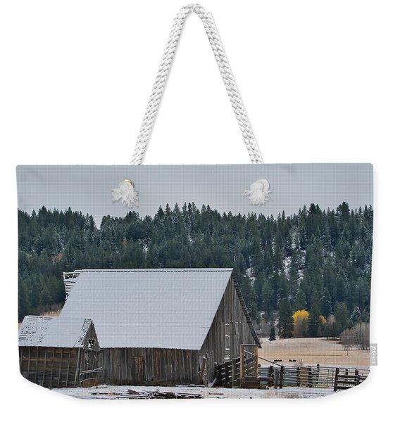 Snowy Barn Yellow Tree Weekender Tote Bag