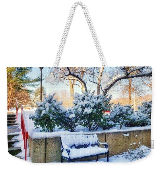 Snowy Bench Weekender Tote Bag