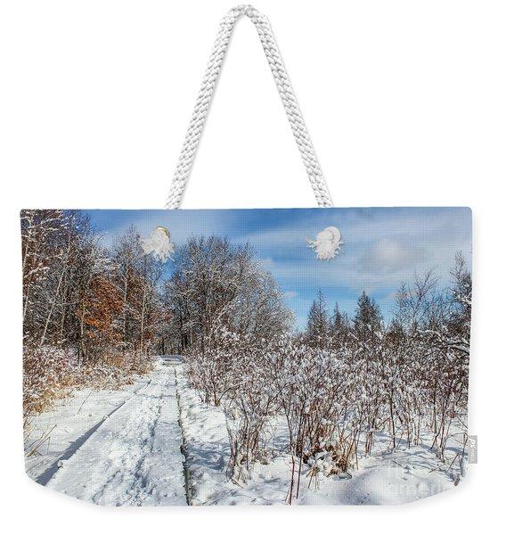 Snowy Boardwalk Weekender Tote Bag
