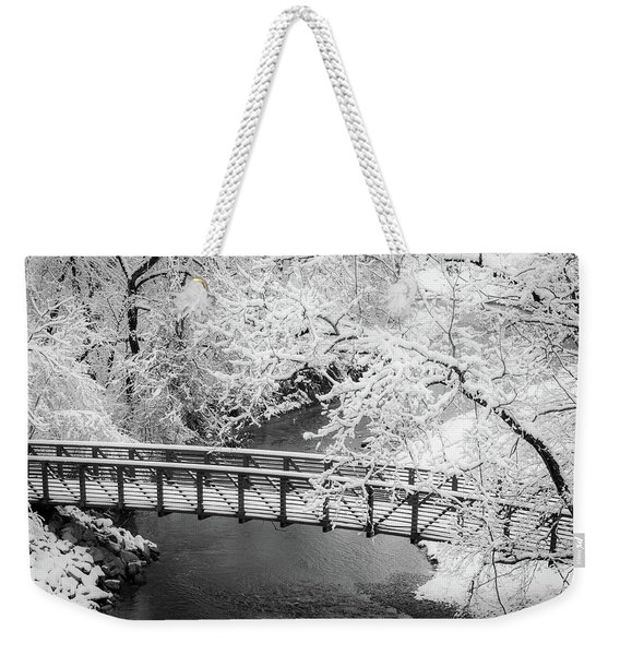 Snowy Bridge On Mill Creek Weekender Tote Bag