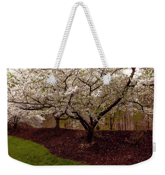 Snowy Cherry Blossoms Weekender Tote Bag