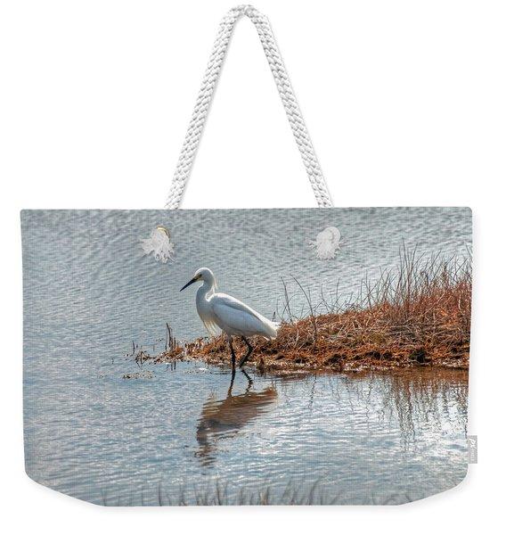 Snowy Egret Hunting A Salt Marsh Weekender Tote Bag
