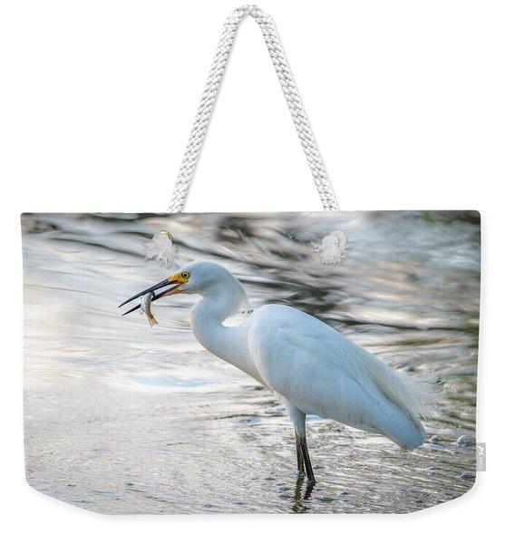 Snowy Egret With Dinner Weekender Tote Bag