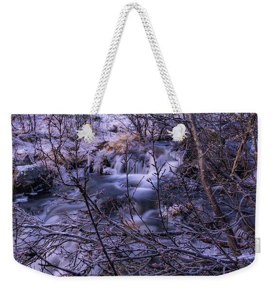 Snowy Forest With Long Exposure Weekender Tote Bag