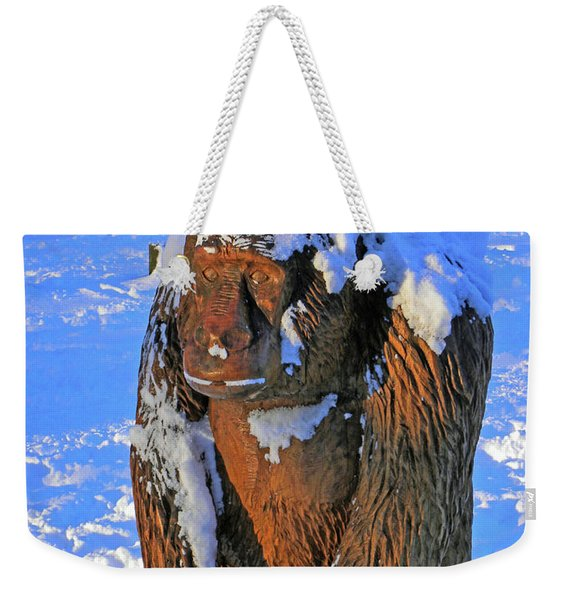 Snowy Gorilla Weekender Tote Bag