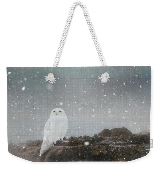 Snowy Owl On A Ledge Weekender Tote Bag