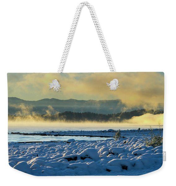 Snowy Shoreline Sunrise Weekender Tote Bag