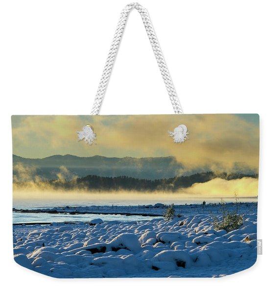 Snowy Shoreline Sunrise Weekender Tote Bag