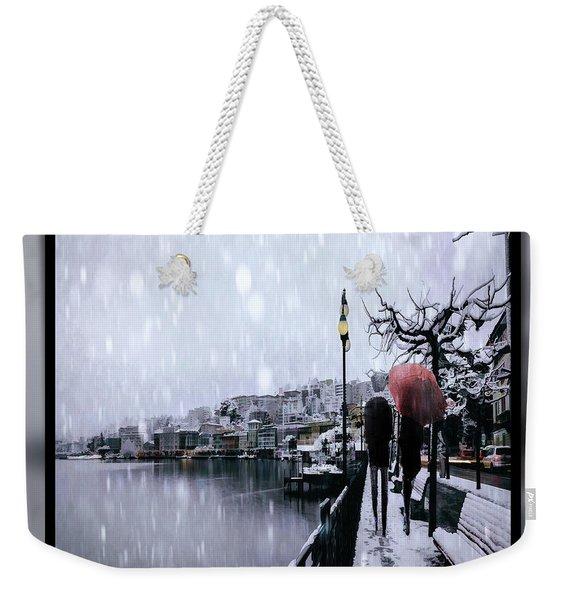 Snowy Walk Weekender Tote Bag