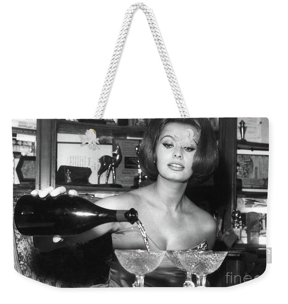 Sophia Loren, Coupe Champagne Glasses Weekender Tote Bag