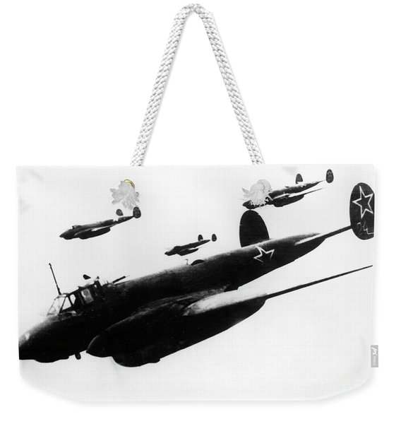Soviet Dive-bombers Petlyakov-2 Attack Finnish Military Objective, 1939 Weekender Tote Bag