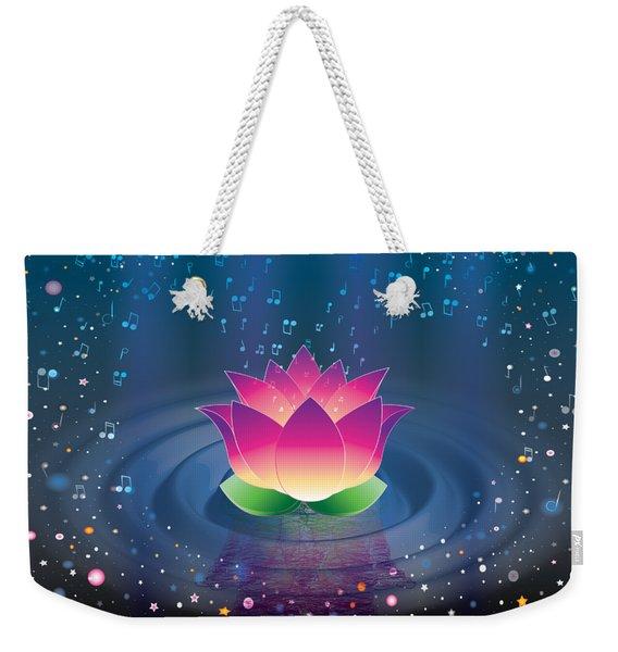 Space Lotus Weekender Tote Bag