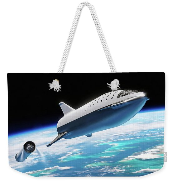 Spacex Bfr Big Falcon Rocket With Earth Weekender Tote Bag