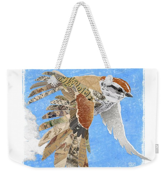 Weekender Tote Bag featuring the mixed media Sparrow by Clint Hansen