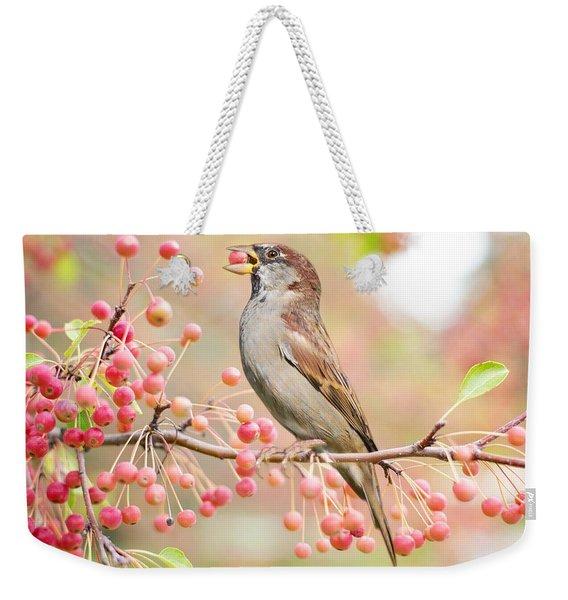 Sparrow Eating Berries Weekender Tote Bag
