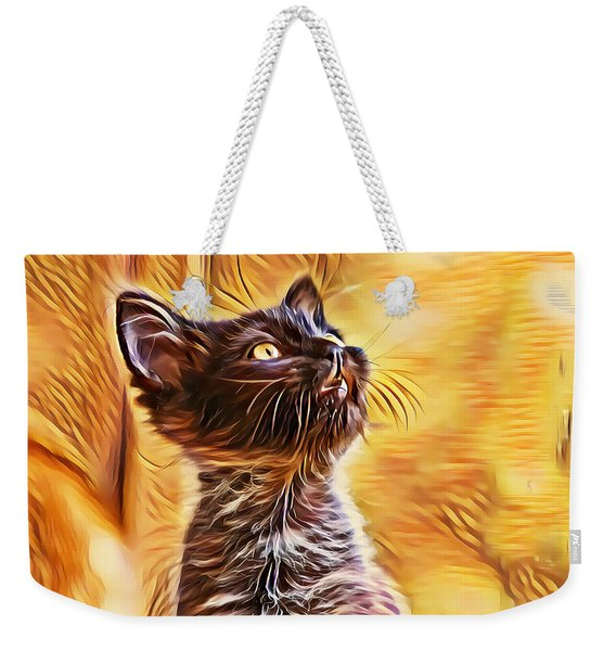 Weekender Tote Bag featuring the digital art Special Long Neck Kitty by Don Northup