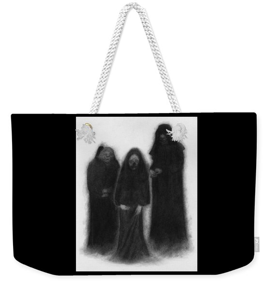Weekender Tote Bag featuring the drawing Specters Of The Darkness Beneath - Artwork by Ryan Nieves