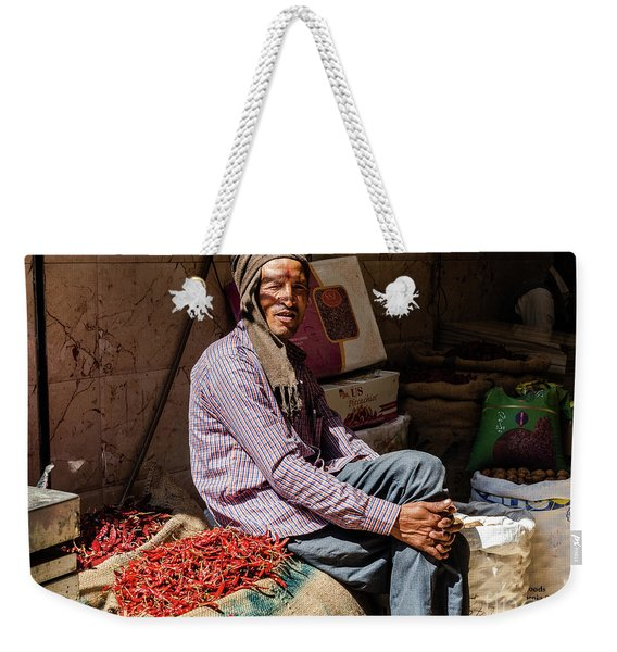 Weekender Tote Bag featuring the photograph Spice Man by Robin Zygelman