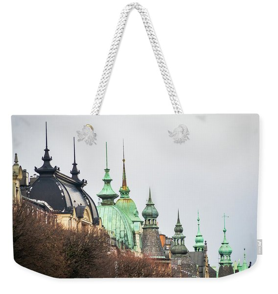 Weekender Tote Bag featuring the photograph Spires Of Stockholm by Robin Zygelman