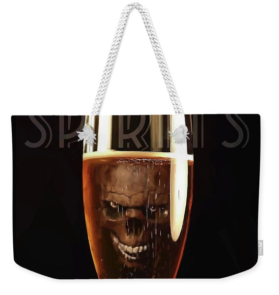 Weekender Tote Bag featuring the digital art Spirits - Know Your Limits by ISAW Company