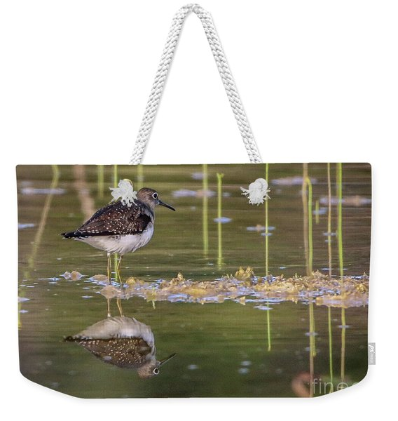 Weekender Tote Bag featuring the photograph Spotted Sandpiper Reflection by Tom Claud