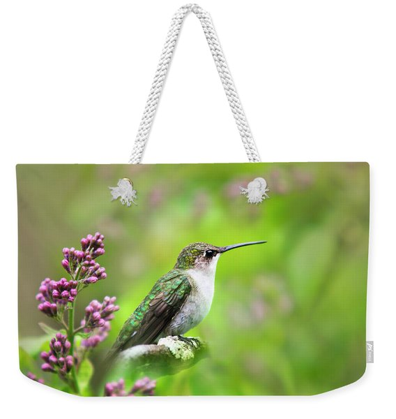 Spring Beauty Ruby Throat Hummingbird Weekender Tote Bag