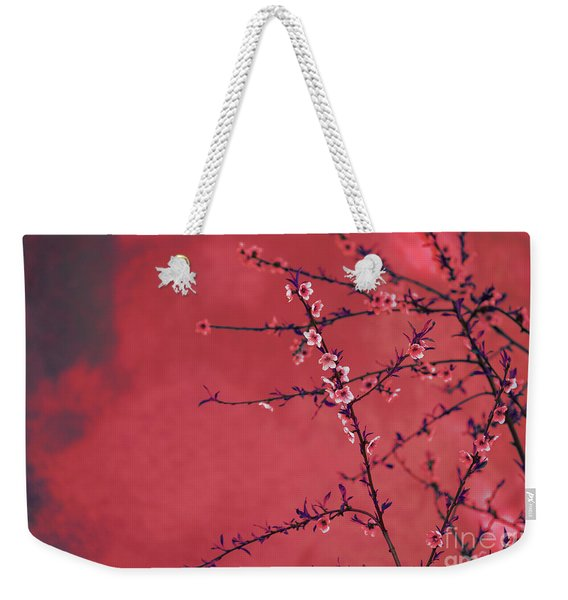 Spring Blossom Border Over Red Arty Textured Background. Chinese Weekender Tote Bag