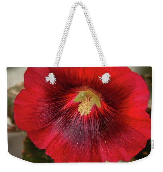 Square Red Hollyhock Weekender Tote Bag