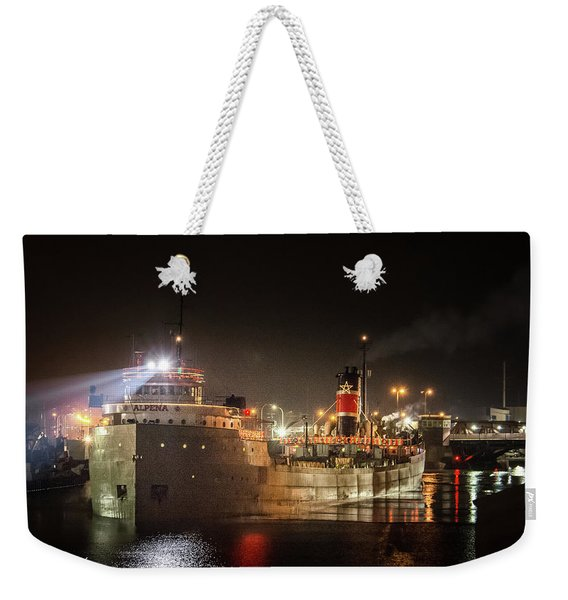 Ss Alpena The Christmas Ship On The Calumet River Weekender Tote Bag
