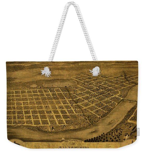 St Cloud Minnesota Vintage City Street Map 1869 Weekender Tote Bag