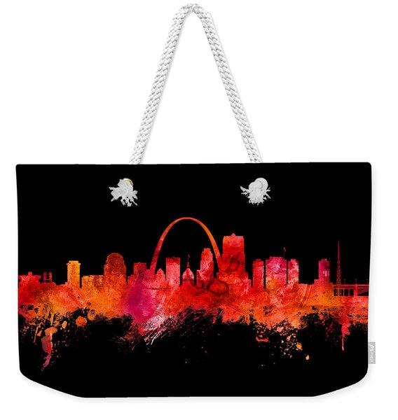 St Louis Missouri Skyline Custom Color Red Weekender Tote Bag