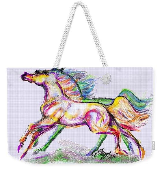 Crayon Bright Horses Weekender Tote Bag
