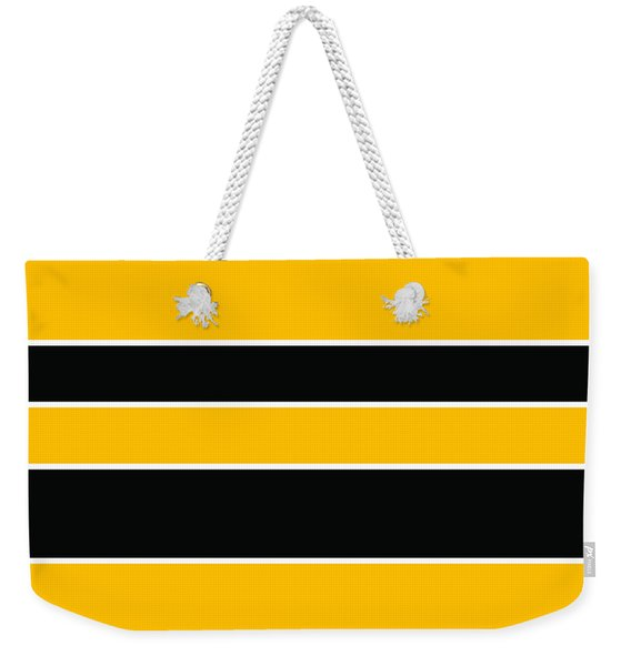 Stacked - Black And Yellow Weekender Tote Bag
