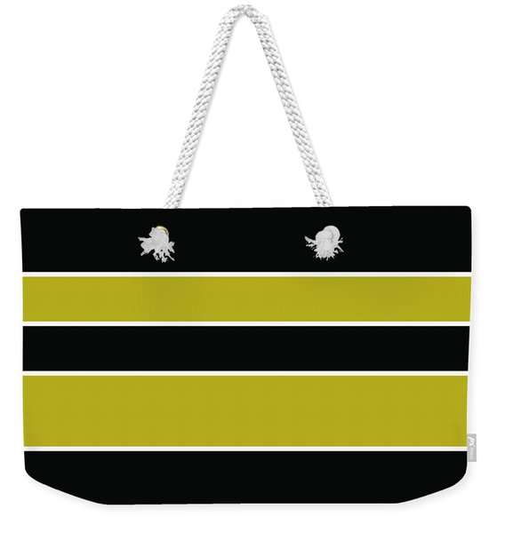 Stacked - Gold, Black And White Weekender Tote Bag