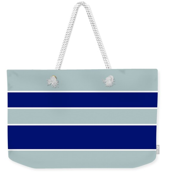 Stacked - Navy, Grey, And White Weekender Tote Bag