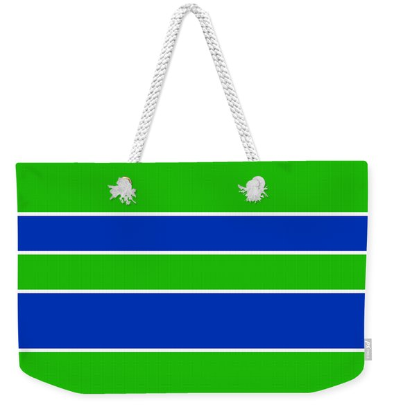 Stacked - Navy, White, And Lime Green Weekender Tote Bag