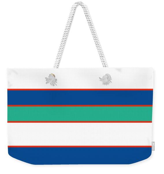 Stacked - Sea Foam, Orange, Navy And White Weekender Tote Bag