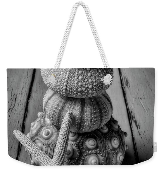 Stacked Sea Urchins And Starfish Black And White Weekender Tote Bag
