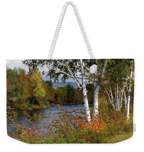 Stark, Nh Fall White Birch  Weekender Tote Bag