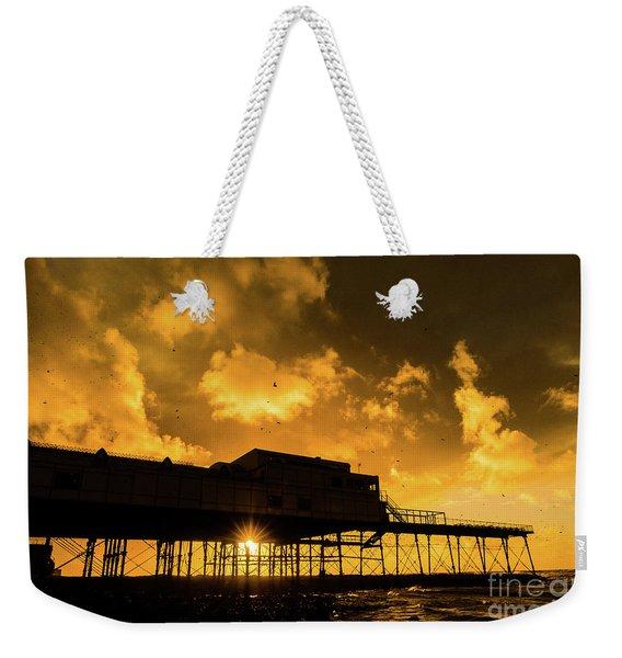 Starlings Ataberystwyth Pier At Sunset Weekender Tote Bag