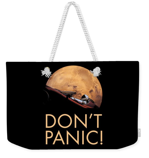 Starman Don't Panic In Orbit Around Mars Weekender Tote Bag