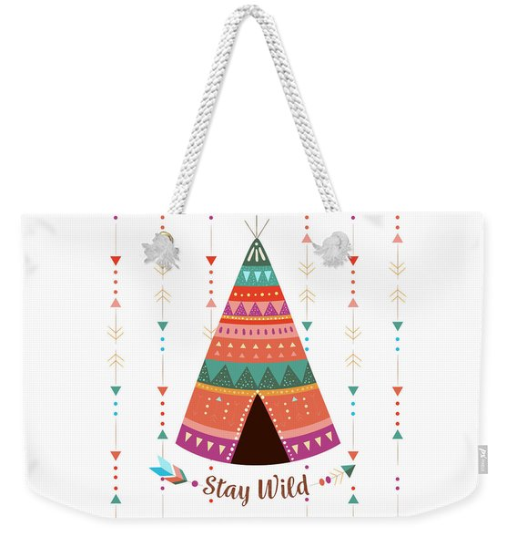 Stay Wild - Boho Chic Ethnic Nursery Art Poster Print Weekender Tote Bag