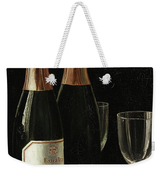 Still Life With Champagne, Cigars, And A Pack Of Playing Cards Weekender Tote Bag