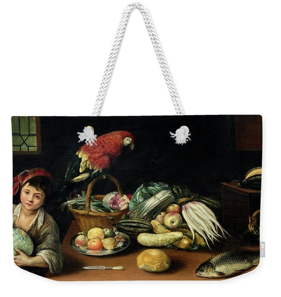 Still Life With Fruit, Parrot, Fish And Vegetables Weekender Tote Bag