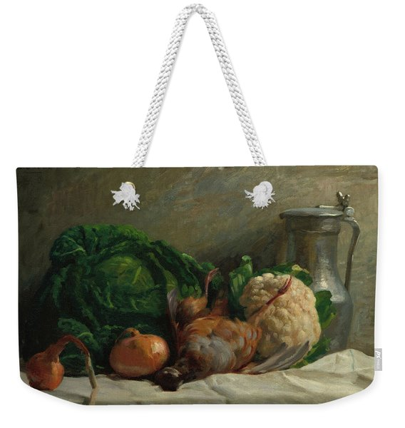 Still Life With Vegetables, Partridge, And A Jug, 1858  Weekender Tote Bag