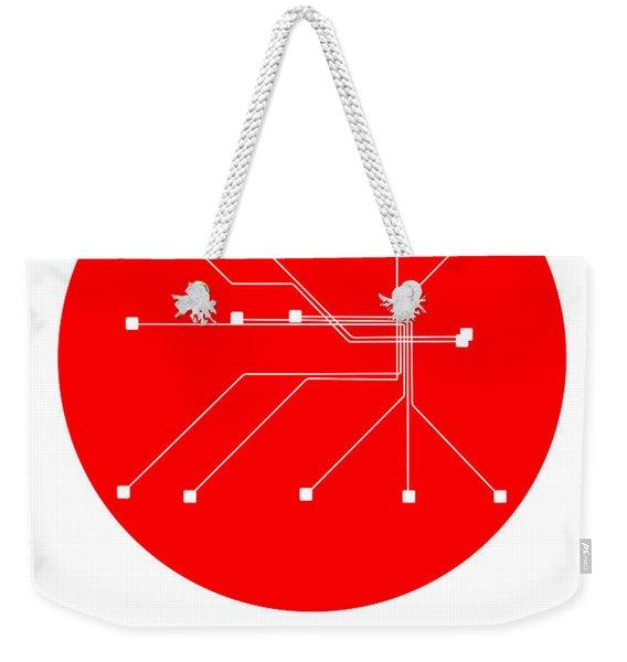 Stockholm Red Subway Map Weekender Tote Bag