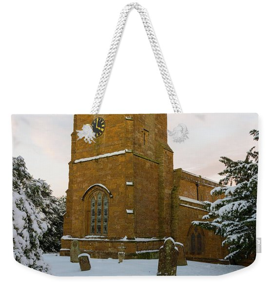 Stone Church In The Snow At Sunset Weekender Tote Bag
