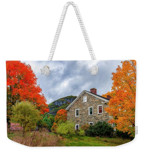 Stone House In Autumn Weekender Tote Bag